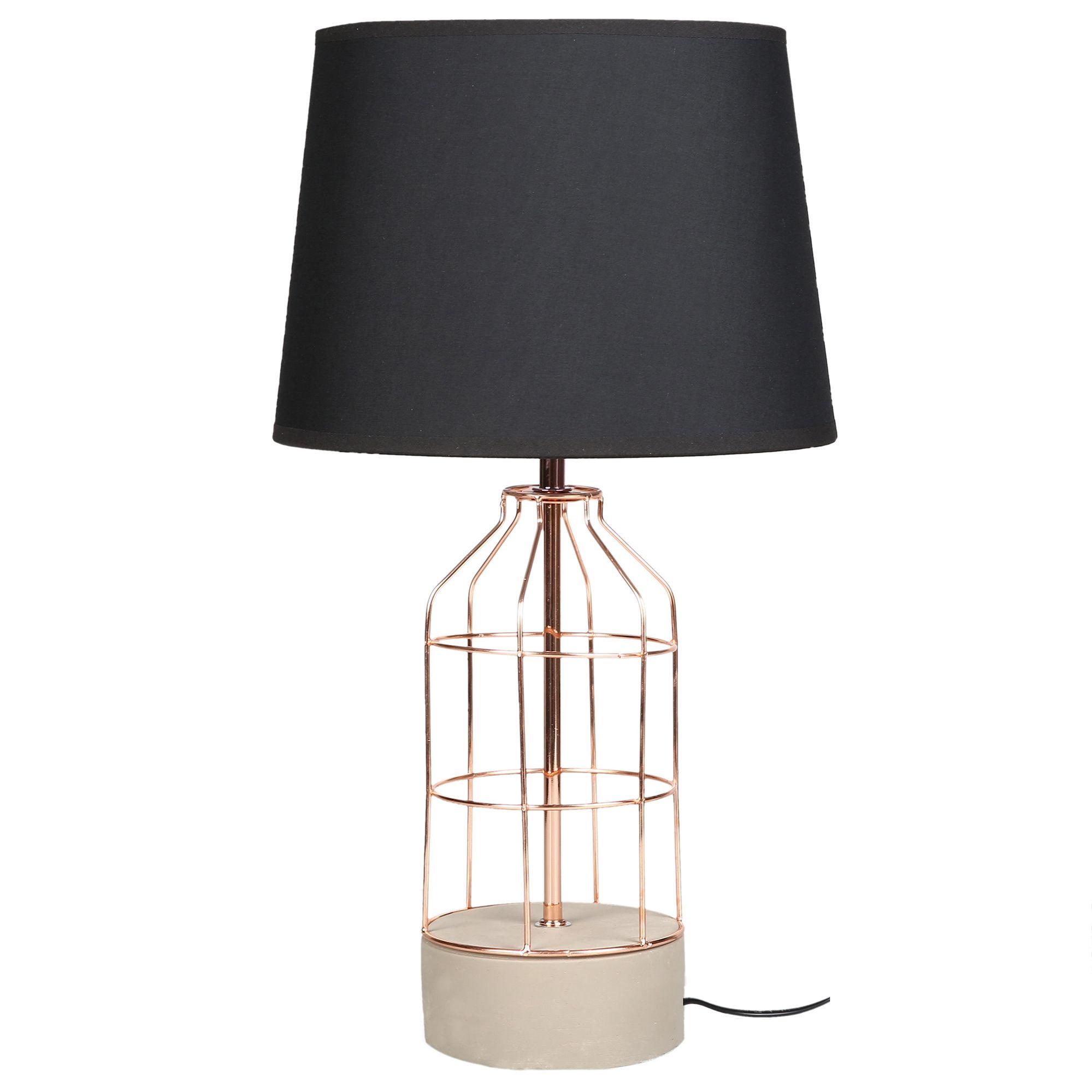 Rose Gold Black Jasmin Table Lamp By Sherwood Lighting