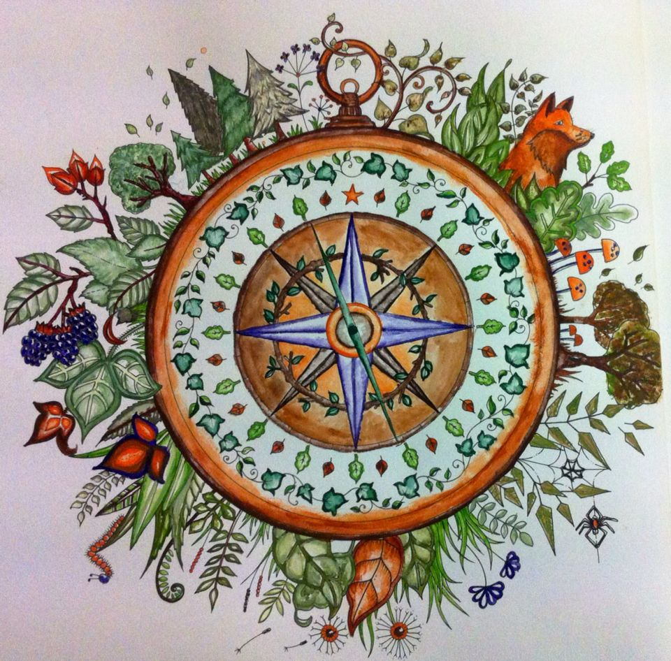 "First page done of Johanna Basford's book""Enchanted forest ..."