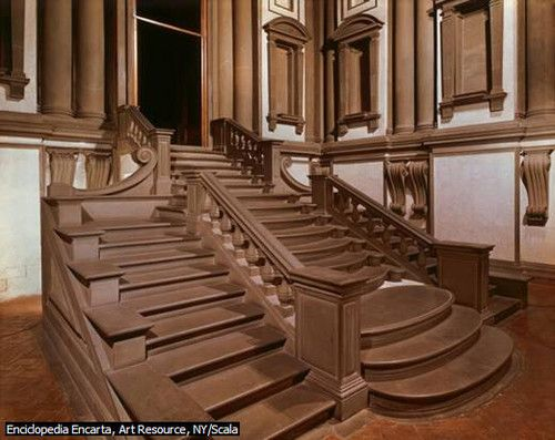 escalera del vestbulo de la biblioteca angel buonarroti