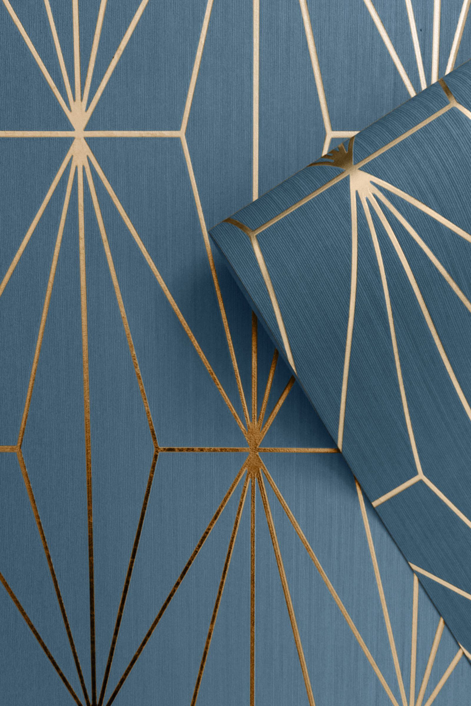 Kayla Metallic Geometric Wallpaper Blue Bronze In 2020 Geometric Wallpaper Feature Wall Wallpaper Art Deco Wallpaper