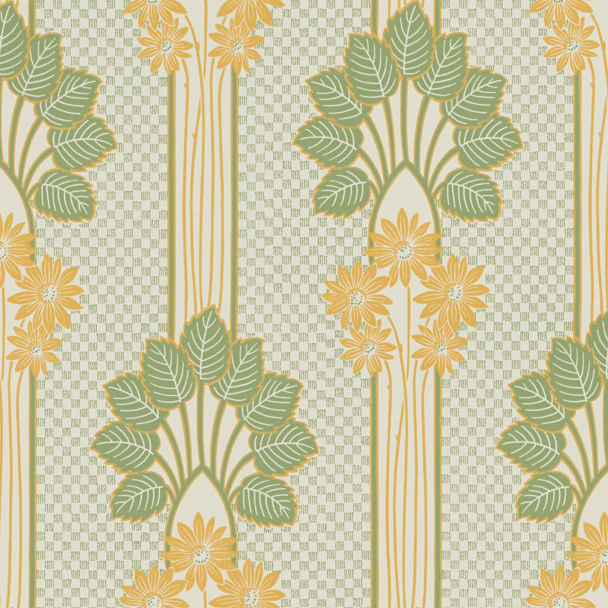 Winding stalks crowned by a floral bouquet make this wallpaper a ...