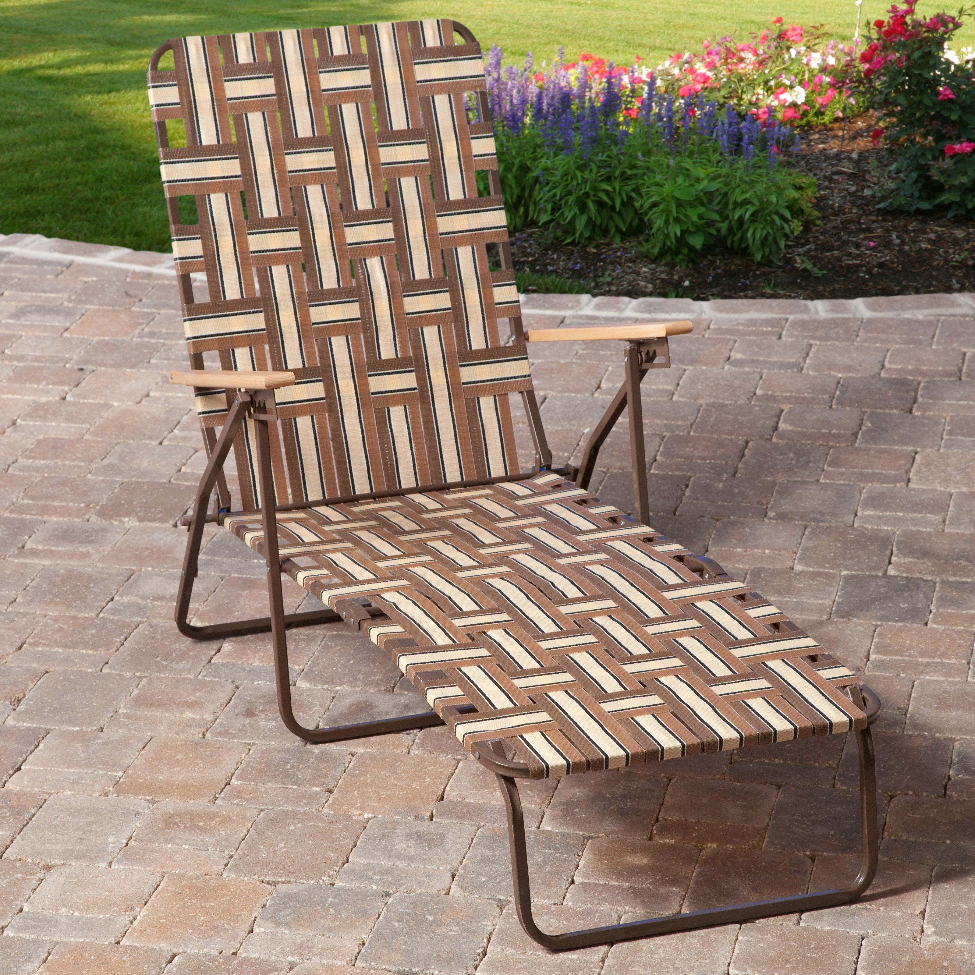 Folding Webbed Chaise Lounge Chair