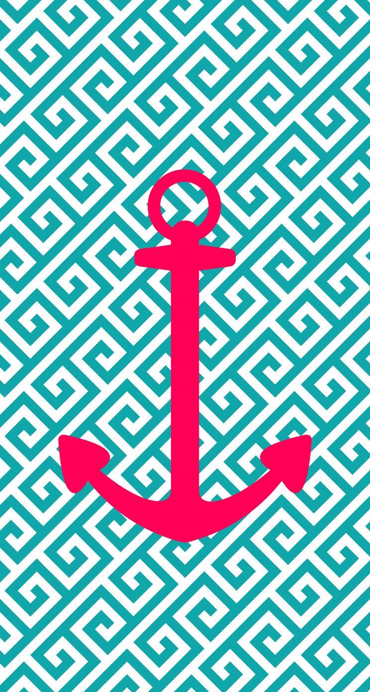 iPhone 5 wallpaper, anchor, pink, blue, aqua, design... I
