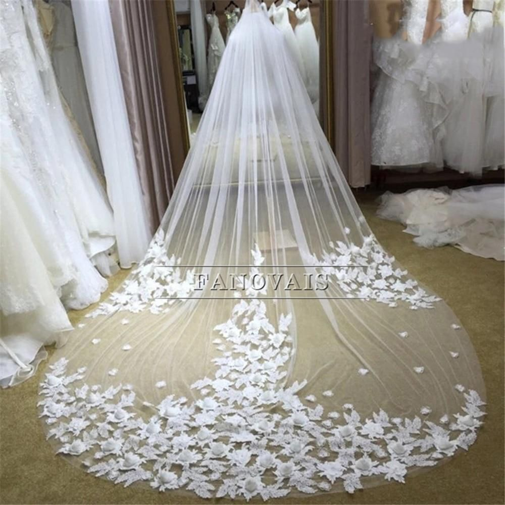 White Ivory beautiful cathedral length lace edge wedding bidal veil with comb A8