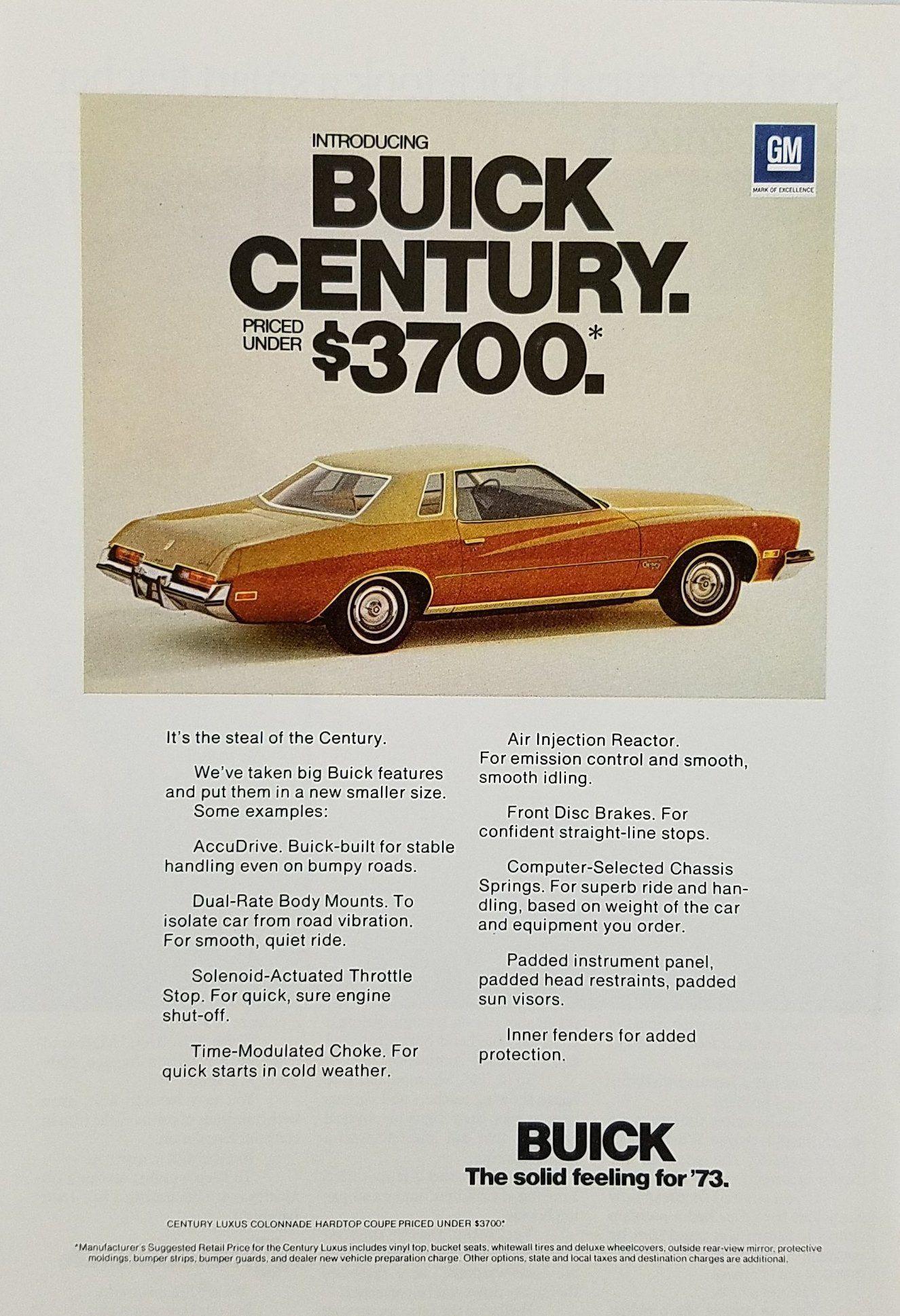 73 Buick Century : buick, century, Buick, Century, Automobile, Vintage, Century,, Buick,, Advertising