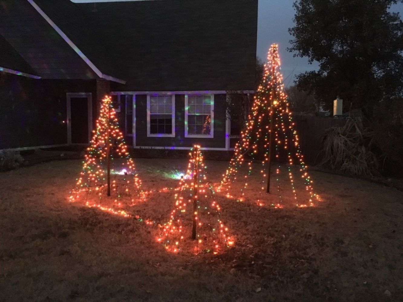 Diy Easy Christmas Tree Lights For Your Backyard Outdoor Christmas Tree Christmas Tree Lighting Simple Christmas Tree