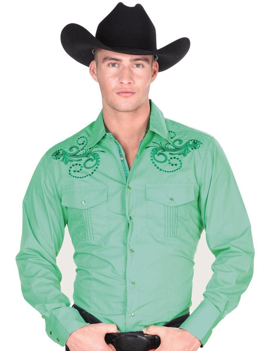 7c4102dcc1 Camisa Vaquera para Hombre  El General  - S-3XL - ID  32831 VERDE in ...