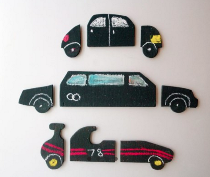 Chalkboard Car Puzzle! So cute! Find it here: http://www.chalkii.com/shop/chalkboard-car-puzzle/  #chalk #chalking #chalkboard #chalkboards #art #creative #shop #decorate #inspire #customize #chalkii