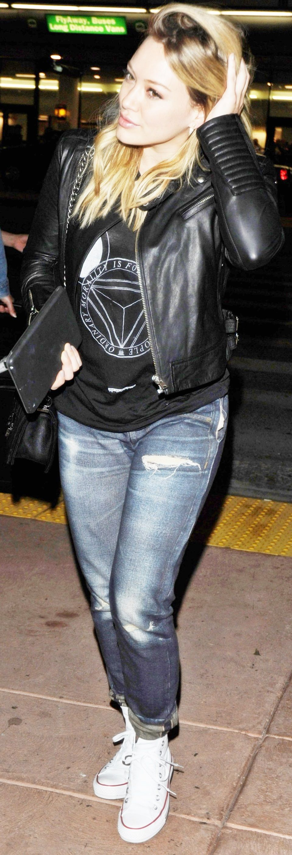 Hilary duff rocks the moto jacket for more style inspiration watch