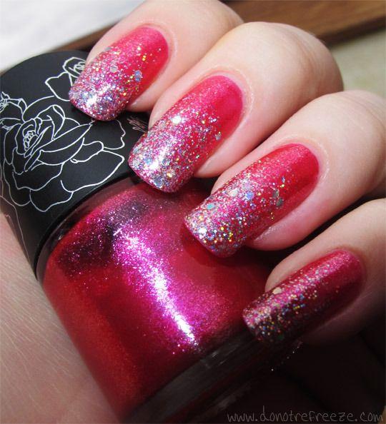 Do Not Refreeze: Glitter Gradient Nails