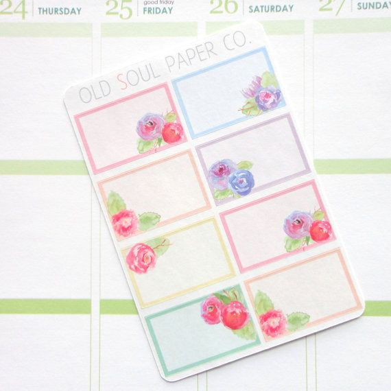Half-Box Planner Stickers  Watercolor Floral by OldSoulPaperCo