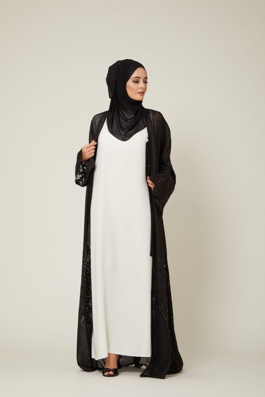 White under slipdress  Luensemble  Pinterest  Abaya fashion