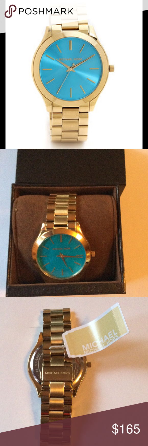 09e90175f7ea6 Michael Kors Slim Runway Blue Watch Gold-Tone NWT Gold tone stainless steel  case with