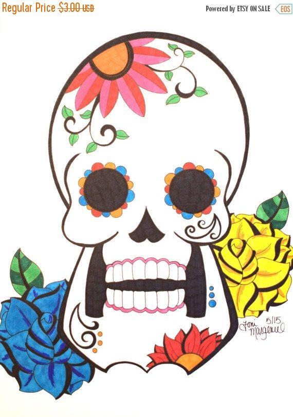 Sugar Skull Drawing Day Of The Dead Artwork Inch Skull