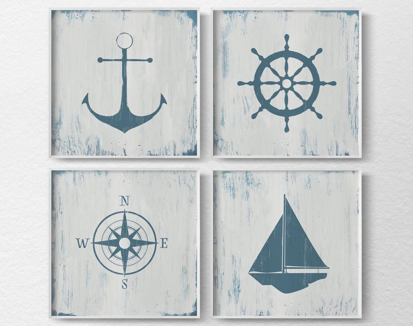 Nautical Decor Nautical Nursery Nautical Wall Art Rustic Nautical Print Beach House Art Nautical Art Nautical Bathroom Art 0464 Nautical Wall Art Nautical Nursery Nautical Bathroom Decor