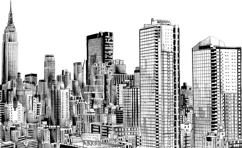 New York Skyline Coloriage Anti Stress Panorama Urbain