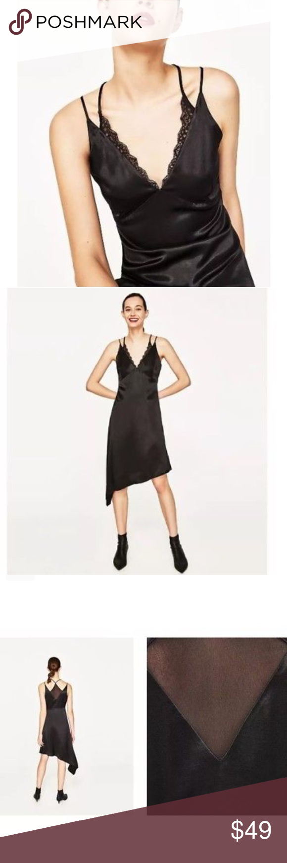 Zara aymmetrical slip camisole dress nwt zara black long sides