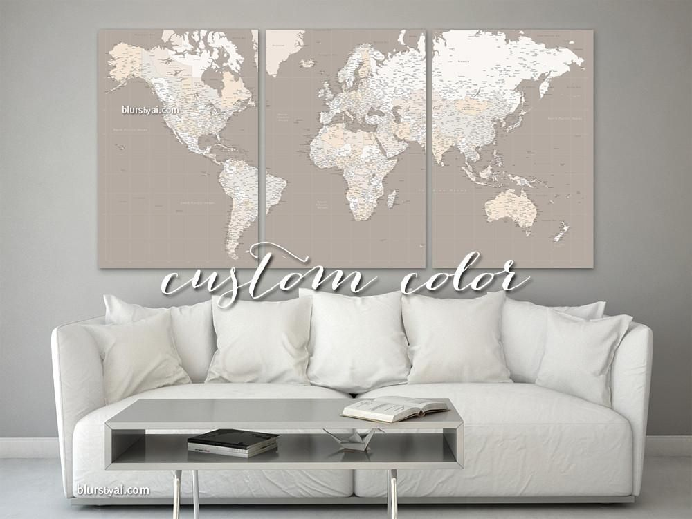 Custom color and quote set of 3 canvas prints multi panel world custom color and quote set of 3 canvas prints multi panel world map canvas print or push pin map highly detailed world map with cities gumiabroncs Gallery