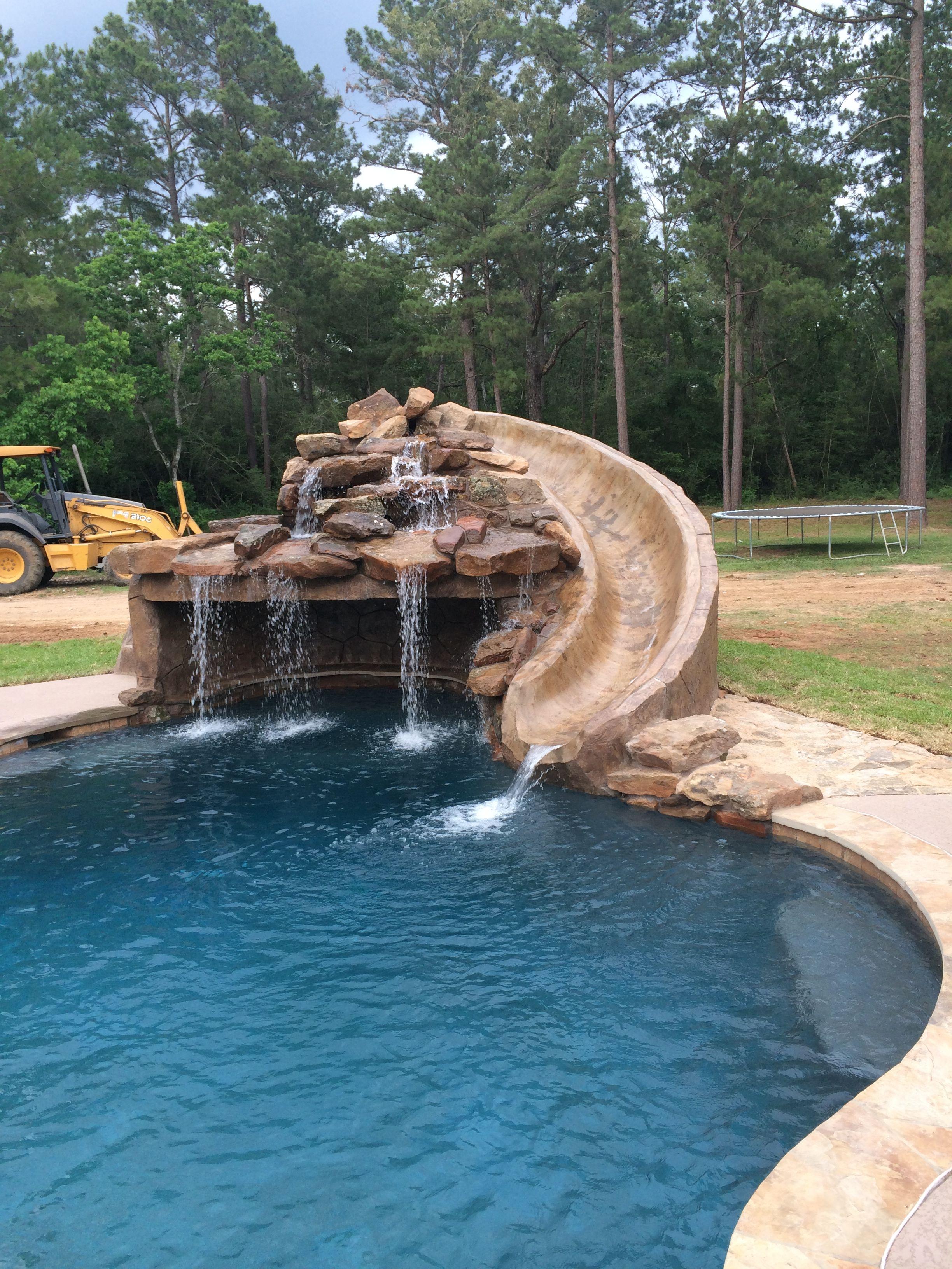 Inground Swimming Pool Slide Grotto Backyard Pool Landscaping