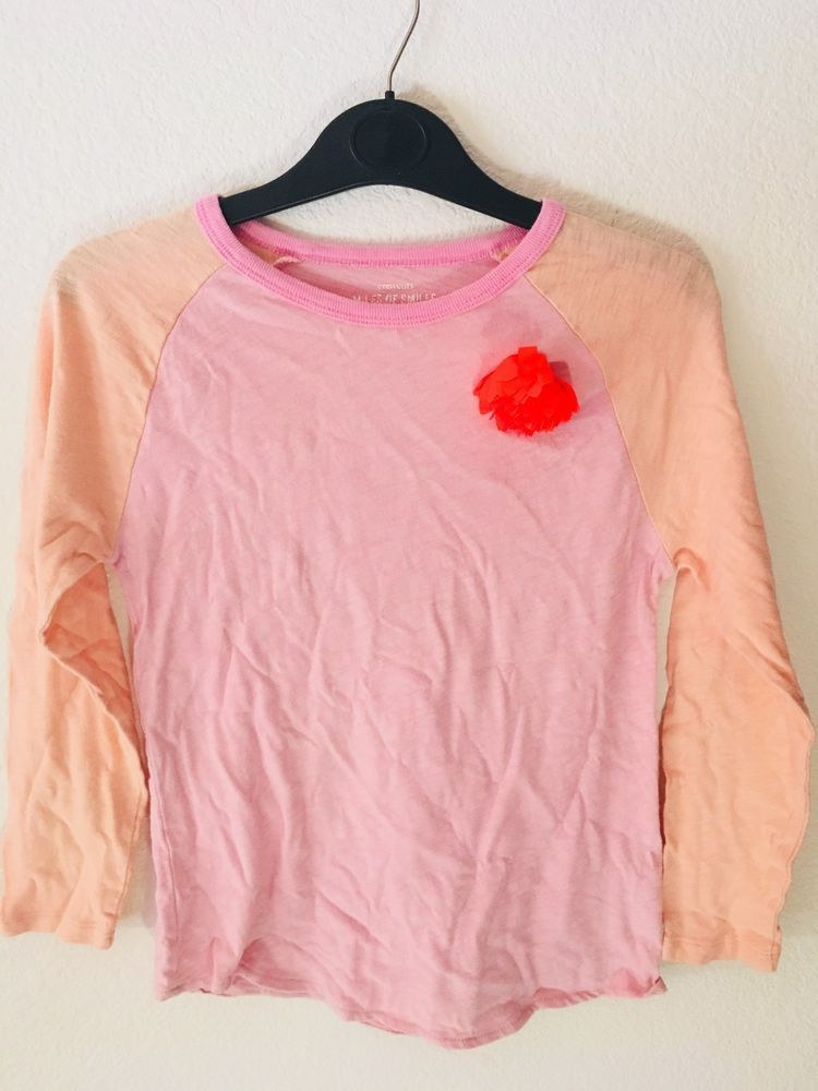 6f298807 CREWCUTS girls' baseball style 3/4 sleeve pink/orange top with flower Size  14 #fashion #clothing #shoes #accessories #kidsclothingshoesaccs ...