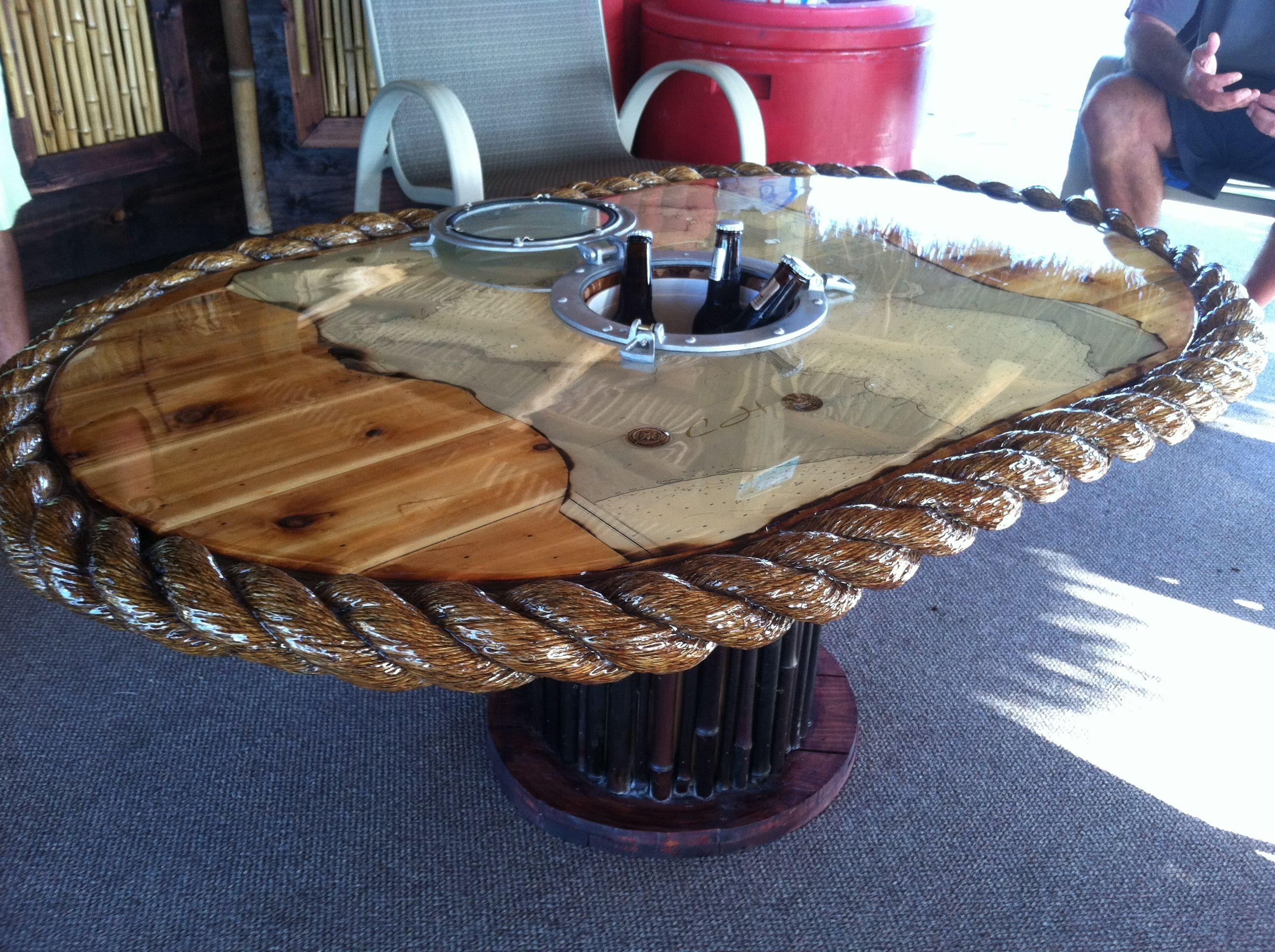 Beer Cooler Coffee Table Nautical Table With A Port Hole Window Beer Cooler In The Middle
