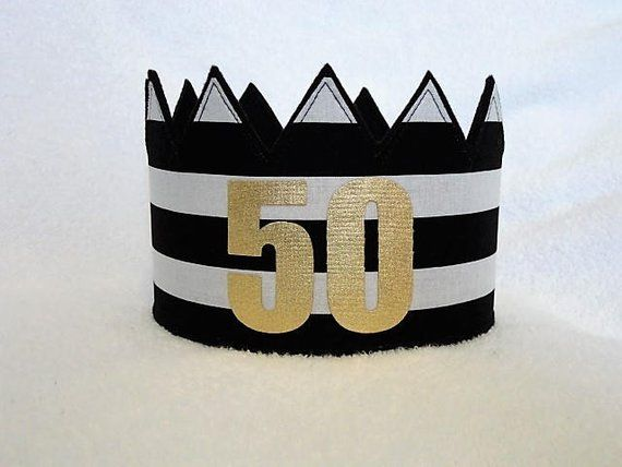 50th Birthday Crown Hat Gold Party Ad