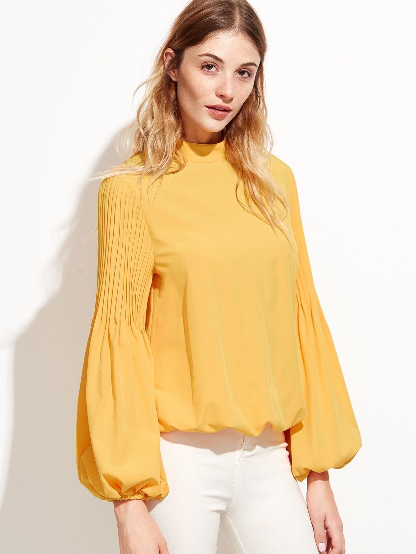 823b0d679559f  AdoreWe  SheIn Blouses - SheIn Yellow Keyhole Mock Neck Pleated Lantern  Sleeve Blouse - AdoreWe.com