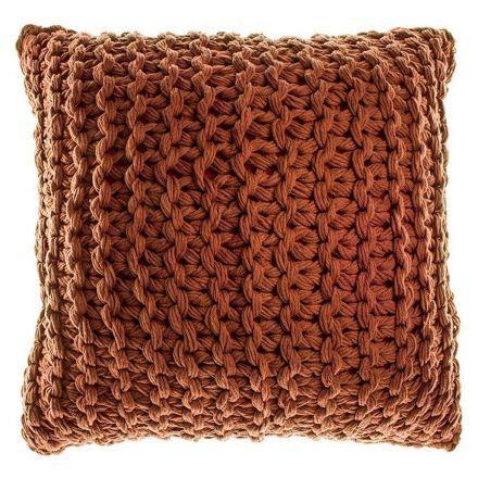 Liana Knitted Cushion, 43 x 43cm, Terracotta $40