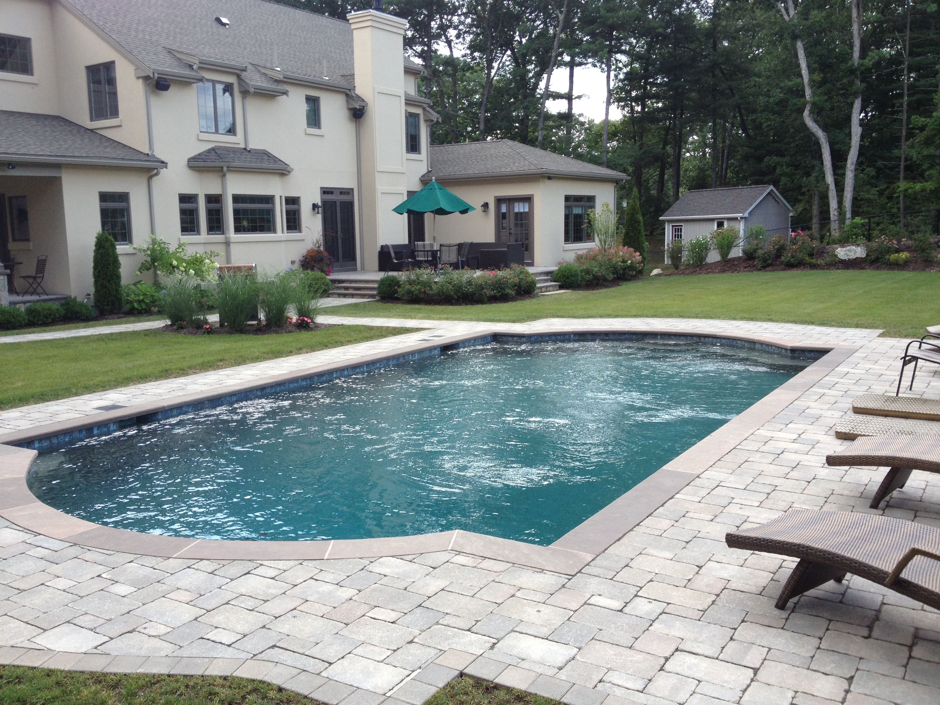 Pool Paver Ideas design ideas for a traditional backyard landscape in chicago with brick pavers Swimming Pools