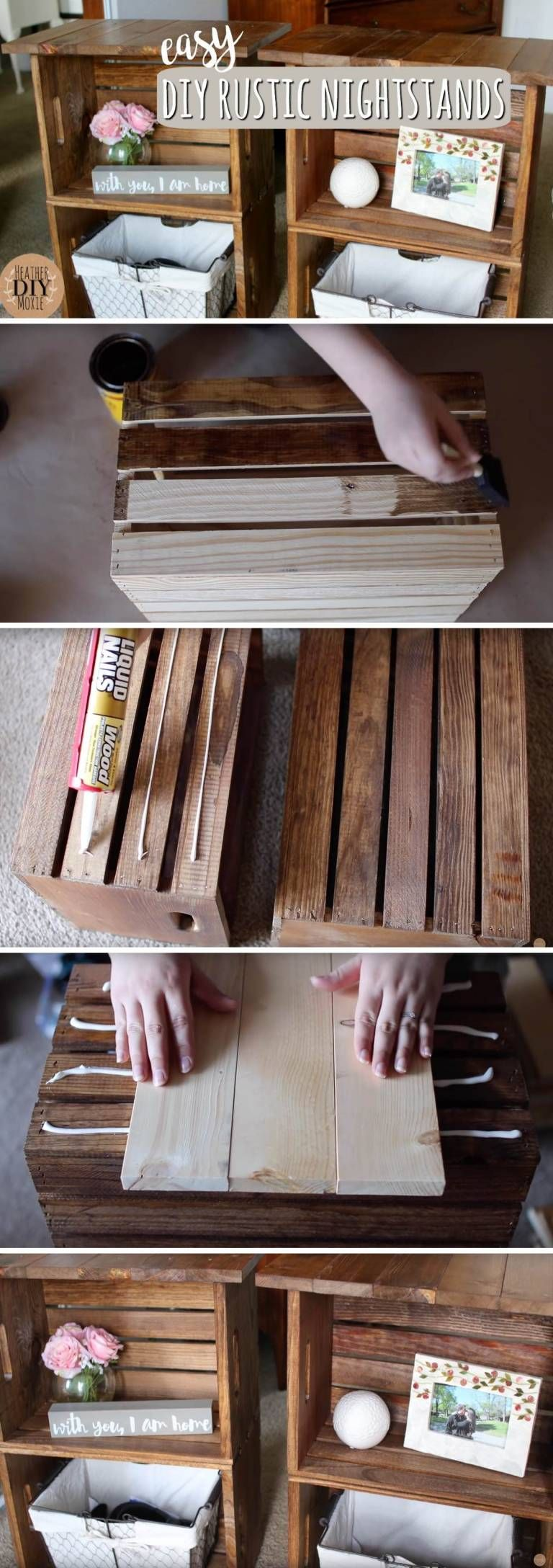 Assembling and Adhering Two Wooden Crates Together Yields Marvellous DIY Rustic Nightstands! images