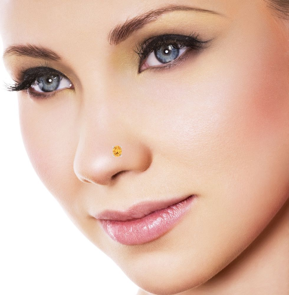 Pretty nose piercing  Yellow Citrine Solitaire Wedding Engagement Anniversary Nose