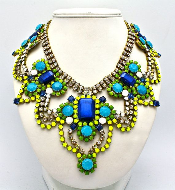 multi necklace in shipping beauty with a ebay light beige statement flower and free blue color here moment haul resin necklaces crystal green