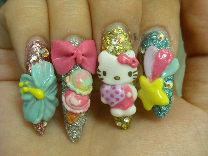 Japanese Deco Nails | Japanese nail art, Hello kitty and Kitty
