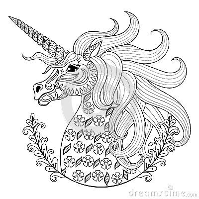 Colouring In Sheets Unicorn : Hand drawing unicorn for adult anti stress coloring pages stock