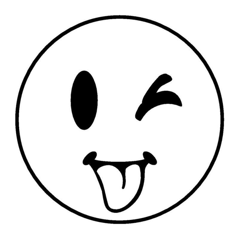 coloring pages - sticking tongue out while winking smiley