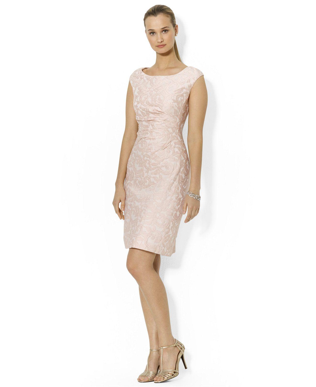 Lauren Ralph Sleeveless Fl Jaquard Sheath Dress Dresses Women Macy S
