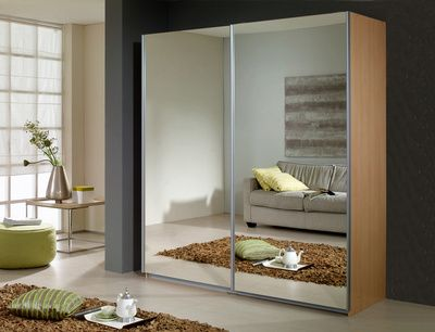 Rauch Dover Beech 2 Sliding Mirrored Door Wardrobe Guest