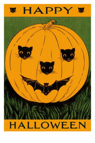 Jack O\u0027Lantern with Cats and Bat Cats, Bats and The o\u0027jays - halloween poster ideas
