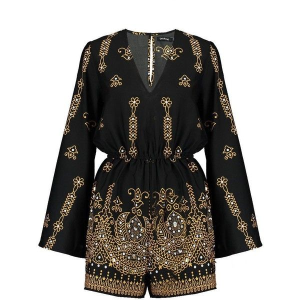 Boohoo Boutique Aylin Murmur Embellished Playsuit ($24) ❤ liked on Polyvore featuring jumpsuits, rompers and playsuit romper