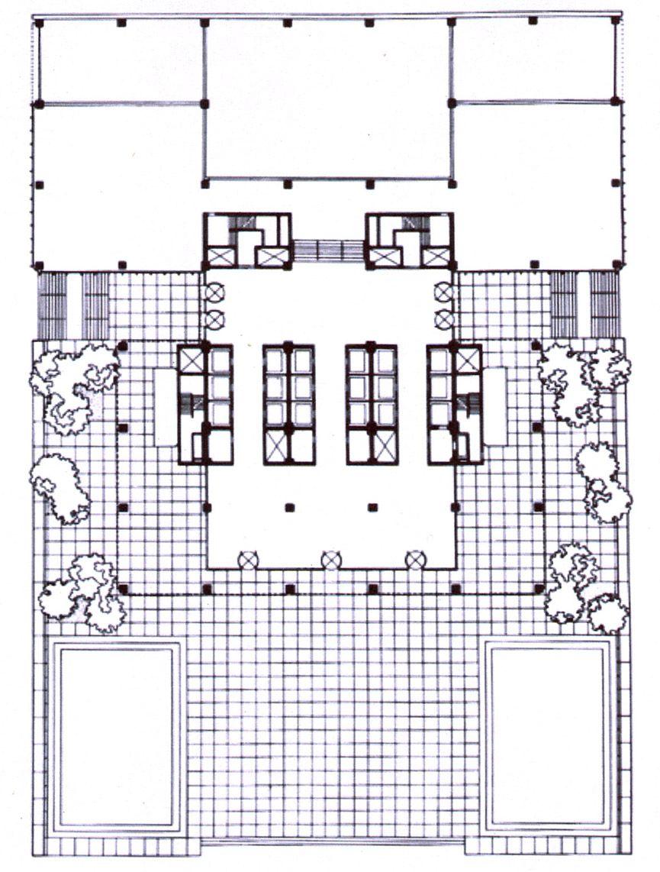 Villa tugendhat arkitalker mies van der rohe - Planta De La Casa De Vidrio Sobre Cuatro Pilares 1950 Mies Van Der Rohe Pinterest
