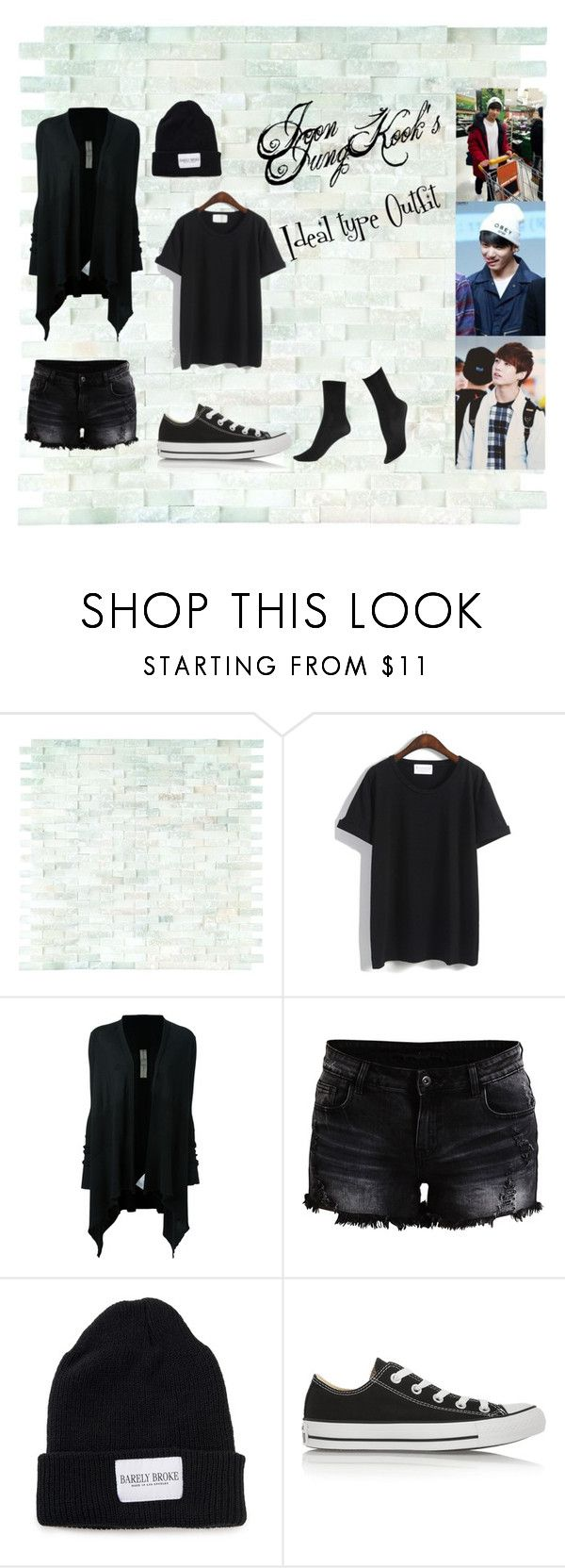 """Jeon jungkook's ideal type outfit"" by nathalia23 ❤ liked on Polyvore featuring WALL, Rick Owens, VILA, Converse and Hue"