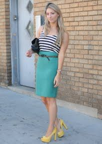 ac7ece49b turquoise pencil skirt. outfit from cupcakes and cashmere ... use of belt  to tie together. don't it with this outfit, but good idea