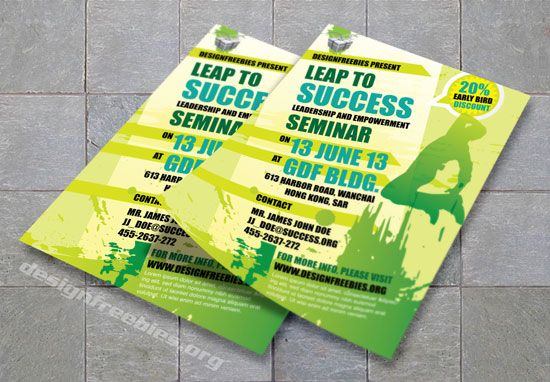 Free Adobe Illustrator promotional flyer template - green Free