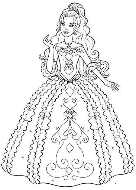 Disegno Di Barbie Principessa Da Stampare Gratis E Da Colorare Nel 2020 Disegni Da Colorare Principesse Immagini