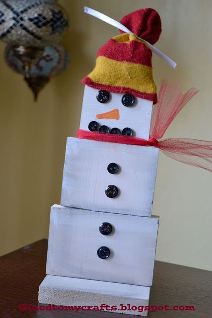 Snowman out of wood blocks