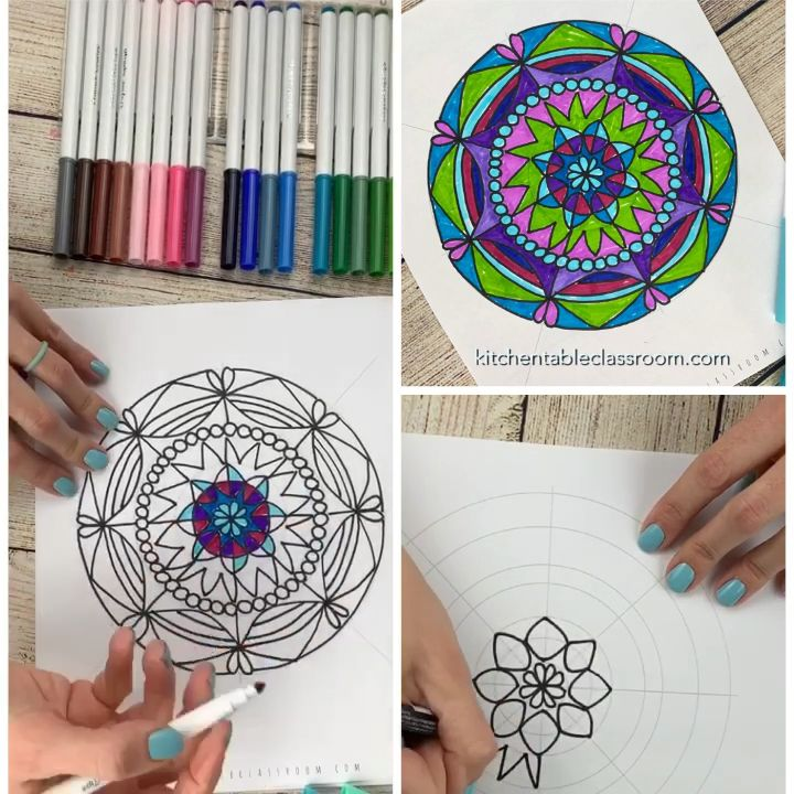 Mandalas for Kids with Printable Mandala Template is part of Kids art projects, Mandala drawing, Mandalas for kids, Drawings, Art sketches, Easy drawings - Use the free mandala template to draw mandala designs that look deceptively complex  Mandalas for kids (or any age) can be easy and fun!