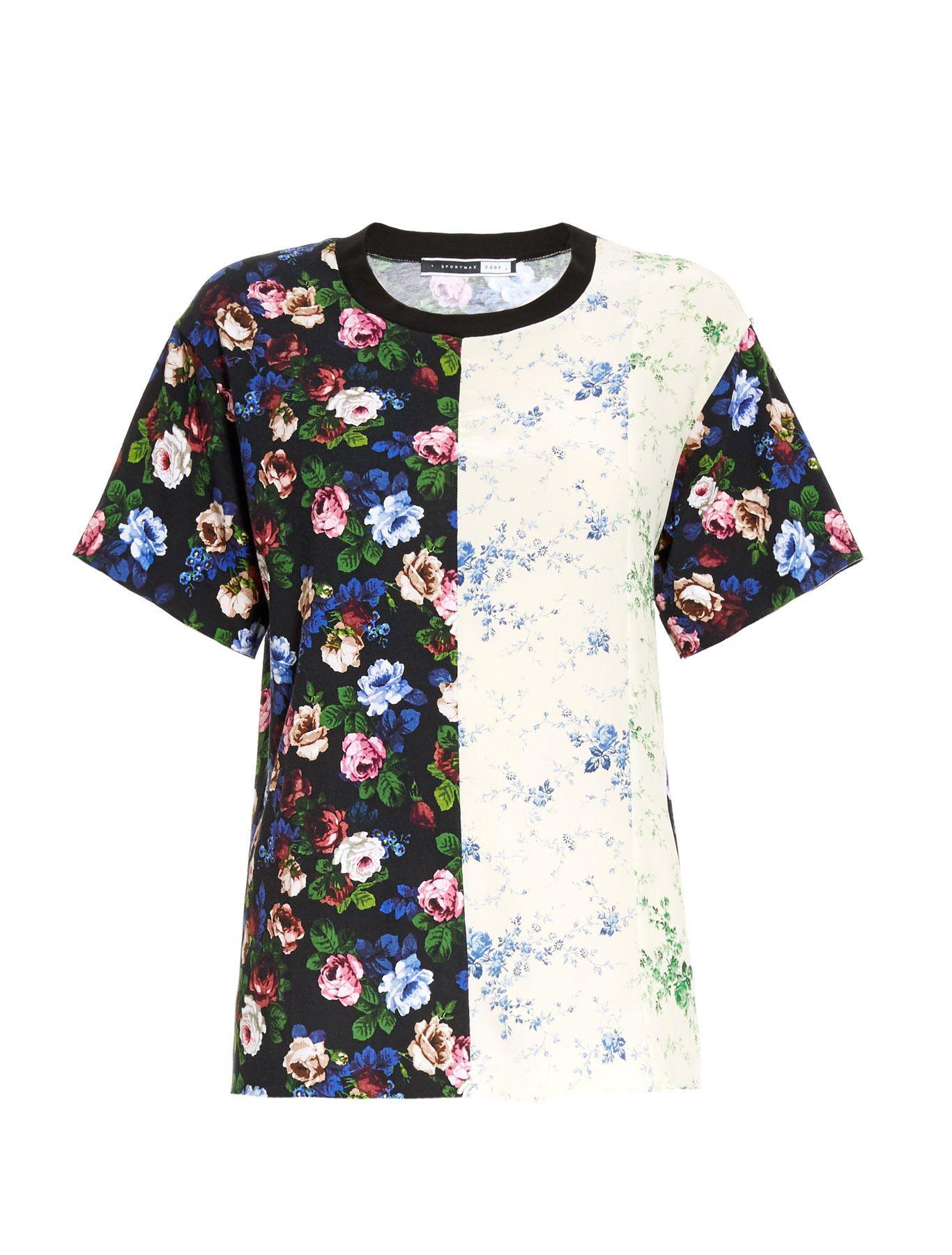 a9f4b4369705b3 Retro floral collage T-shirt