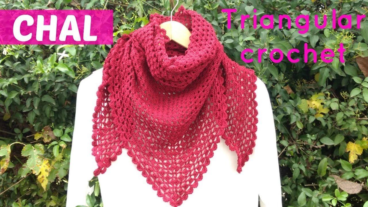 Aprende a tejer un chal a crochet, triangular y fácil de tejer. Si ...