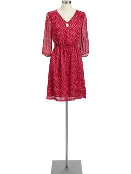 4b5895d72d9 Old Navy  Red Dotted Chiffon Keyhole Dress. I love the fresh look of the  sheer sleeves. Makes it very appropriate for spring (or a cool summer  night).