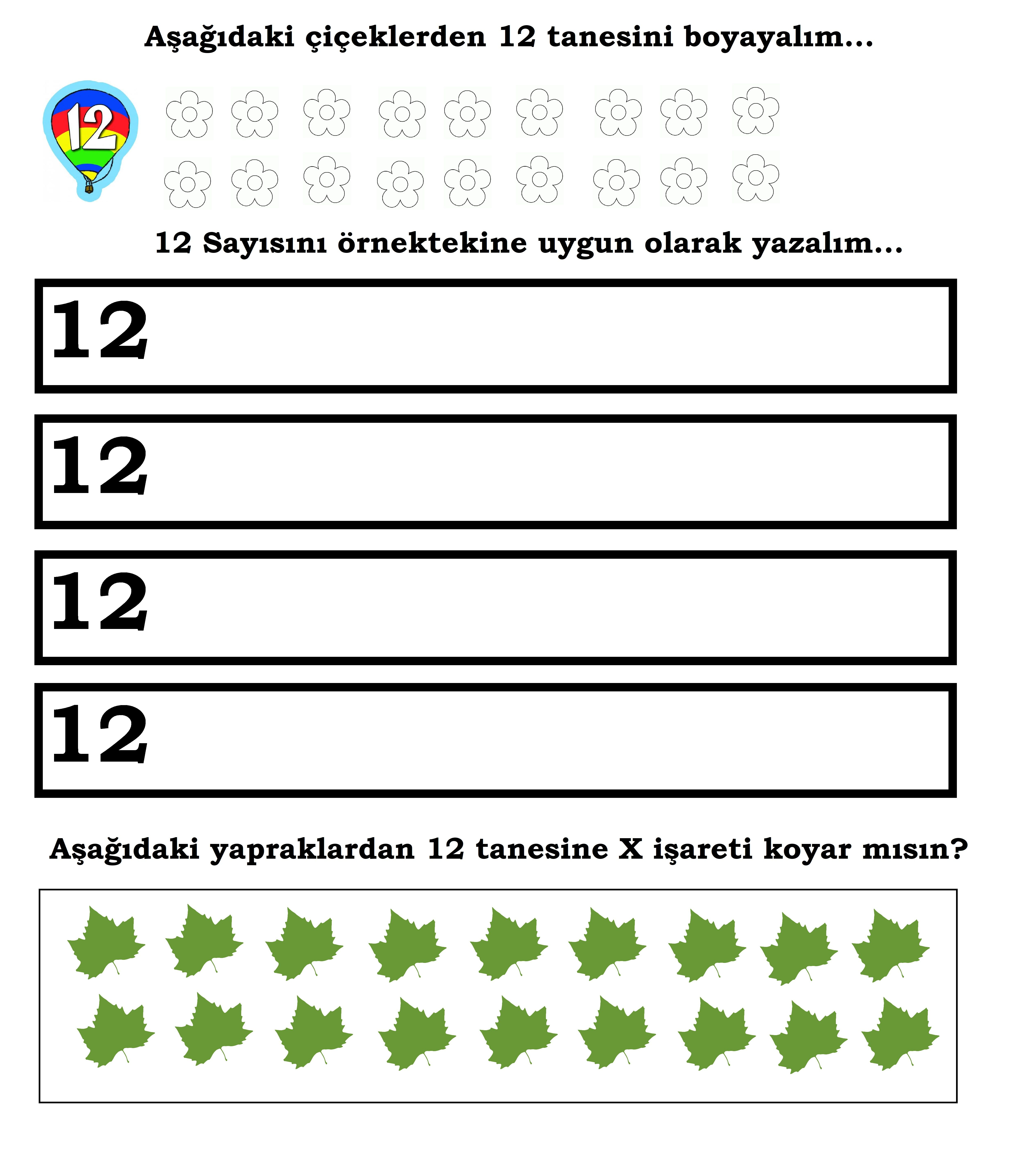 Okul Oncesi 12 Yazma Anaokulu Matematigi